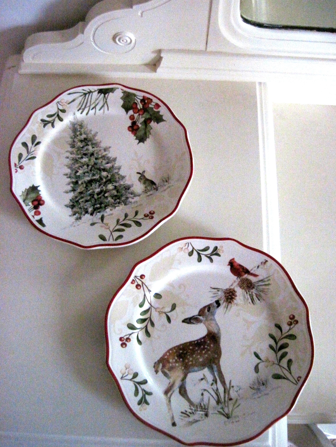i gasped as i spied these christmas plates at walmart yesterday arent they so pretty the pictures arent great we are due for rain and the house is so