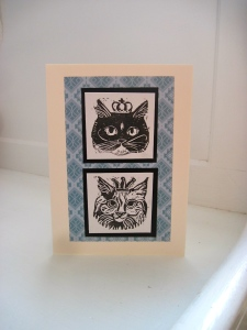 hand cut stamp kitty card